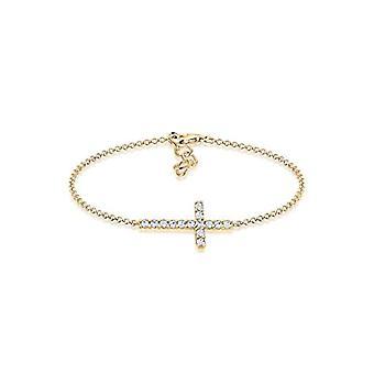 Elli Bracciale con Croce da Donna Placcato Oro - 16 cm