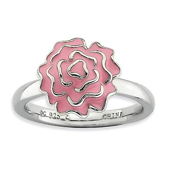 925 Sterling Silver Enamel Polished Rhodium-plated Stackable Expressions Carnation Ring - Ring Size: 5 to 10