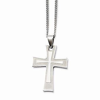 Edelstahl gebürstet poliert Fancy Hummer Verschluss religiösen Glauben Kreuz Anhänger 24Zoll Halskette 24 Zoll Schmuck Gif