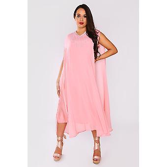 Kaftan ambre split sleeve layered maxi v-neck crystal dress in pink