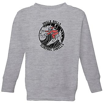 Jungle Bells, Surfing Swells Kids' Christmas Sweatshirt - Grey