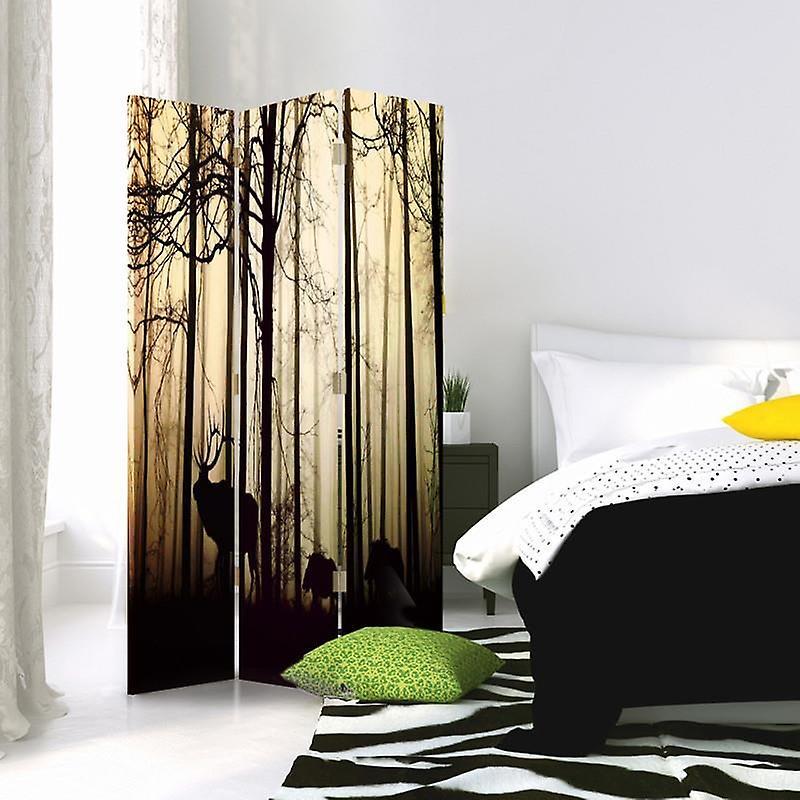 Diviseur de chambre, 3 panneaux, double-sided, 360 rotatable, toile, animaux dans la forêt