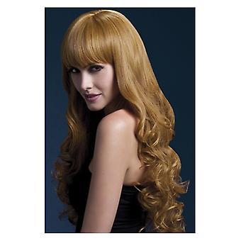 Fiebre Isabelle peluca, Auburn, largo suave rizo con flecos, accesorio de disfraces de 66cm/26 in