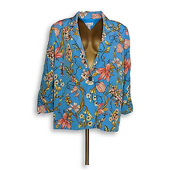 Susan Graver Women's SzBlazer Printed Peachskin with Blue A351019