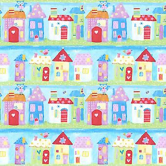 Town Houses City Wallpaper Birds Painted Effect Kids Room Paste Wall Galerie