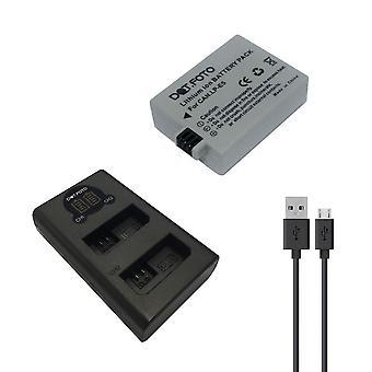 Dot.Foto Canon LP-E5 batería de repuesto + cargador USB de LCD