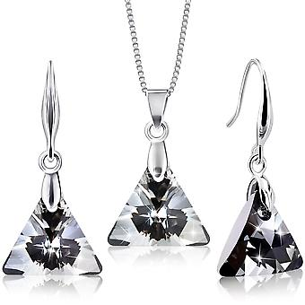 Rhodium plated earrings and necklace set with swarovski crystals by 2splendid. set of 2. box included. enqz030-33
