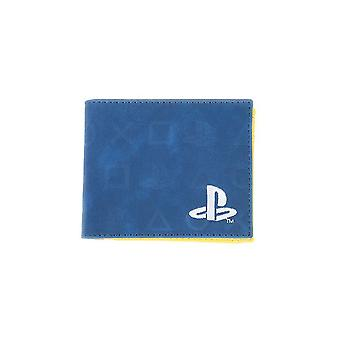 Ícones da Sony Playstation All-Over Print Bi-Fold Wallet Coin Pouch Masculino Azul / Amarelo