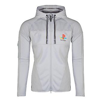 Sony Playstation PS One Logo Technical Full Length Zipper Hoodie Male Small Grey