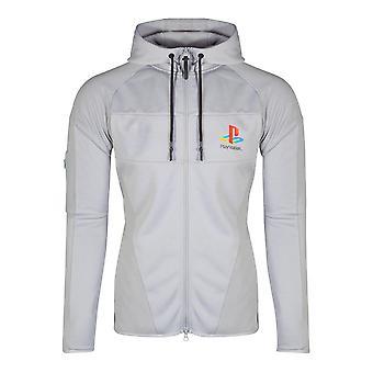Sony PlayStation PS One logo typ teknisk full längd blixtlås hoodie hane liten grå