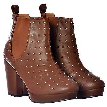 Onlineshoe Silver Studded Block Heel Chelsea Ankle Boots - Tan