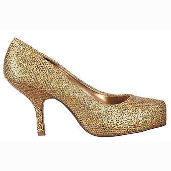 Onlineshoe tacón de gatito bajo - zapatos de corte - brillo de oro
