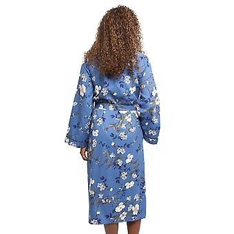 Cyberjammies 4371 vrouwen ' s Heather Blue floral print katoen lang gewaad
