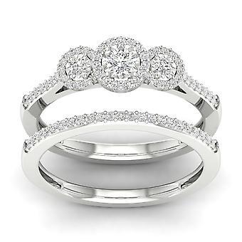 Igi gecertificeerd s925 zilver 0.33ct tdw natuurlijke diamant drie stenen halo bruids set
