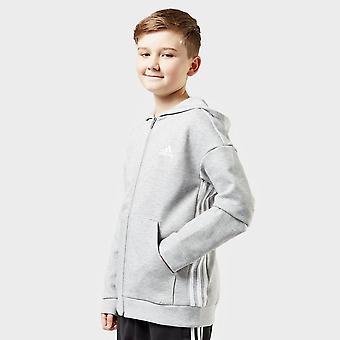 New adidas Kids' 3 Stripe Full Zip Hoodie Grey