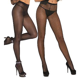 Womens Opaque Sheer and Fishnet Pantyhose Nylon Tights Hosiery- 2 Pack