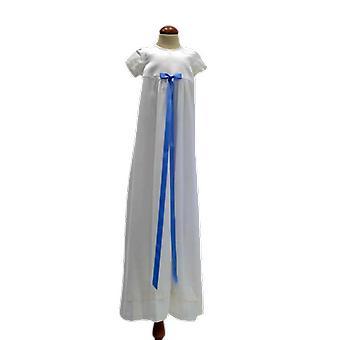 Dopklänning Grace Of Sweden, Stilren Med Smal Blå Rosett  Pr.ka
