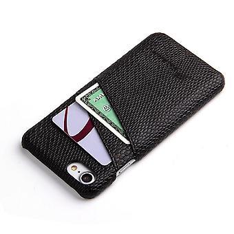 Für iPhone 8,7 Fall, elegante Deluxe Schlange Muster schützende Lederbezug, schwarz