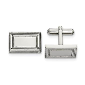 17.29mm Stainless Steel Polished Rectangular Cuff Links Jewelry Gifts for Men