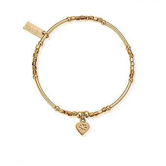 ChloBo Gold Mini Noodle Cube Flower Heart Bracelet