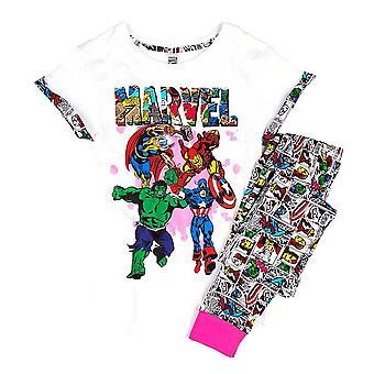 妇女奇迹超级英雄漫画条纹睡衣集