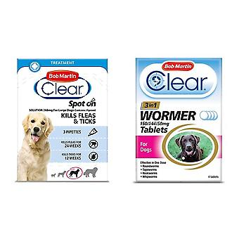 Bob Martin Clear Flea Removal and Wormer Tablets Spot On for Large Dogs