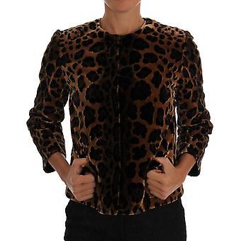Dolce & Gabbana Brown Leopard Print Silk Jacket