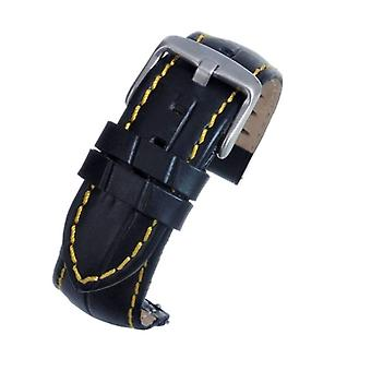 Black croco calf watch strap with yellow stitching complete with quick release spring bars