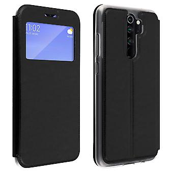 Window flip case, flip wallet case with stand for Xiaomi Redmi Note 8 Pro Black
