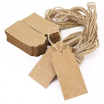 100pcs Brown Kraft Paper Hang Tags Gift Price Party Wedding Label Cards + 20m String
