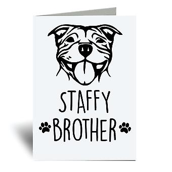 Staffy Brother A6 Greeting Card