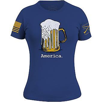 Grunt Style Women's Beer Flag Throwback T-Shirt - Blue