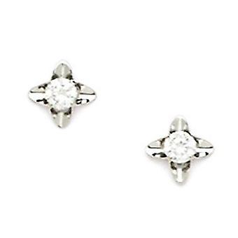 14k White Gold CZ Cubic Zirconia Simulated Diamond Small 4 Point Star Screw back Earrings Measures 7x7mm Jewelry Gifts f