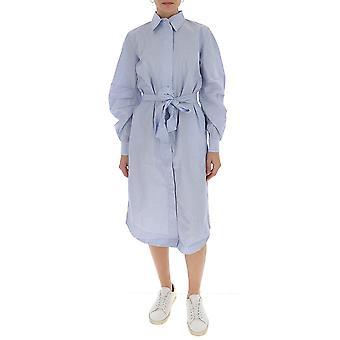Ganni F4537699 Women's Light Blue Cotton Dress