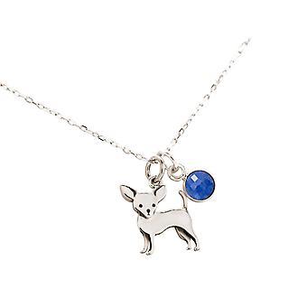 GEMSHINE Chihuahua hond met saffier blauw hanger 925 zilver, verguld of Rose