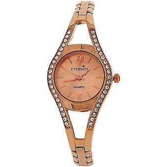 L'éternité dames cristal lunette Rose ton or bracelet sangle montre ET80A