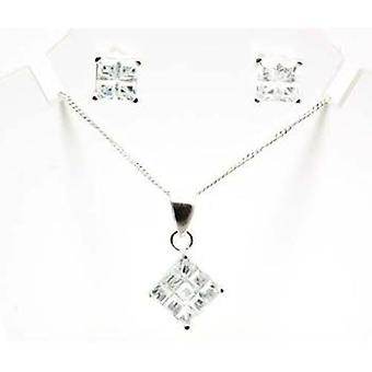 TOC Sterling Silver Clear CZ Square Stud Earring & Pendant Necklace 18