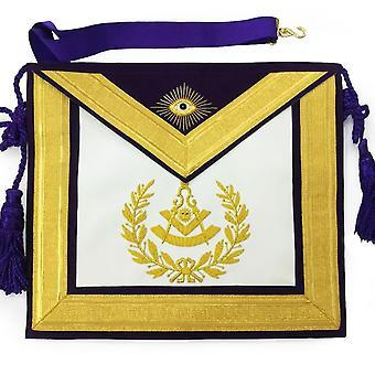 Masonic past master gold & purple hand embroidered apron