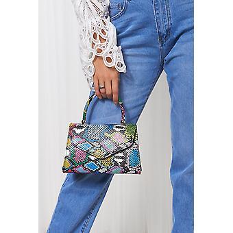 coloured Snakeskin Envelope Bag