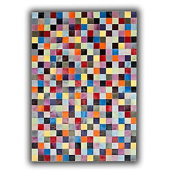 Rugs -Patchwork Leather Cubed Cowhide - Multi Solid Colours