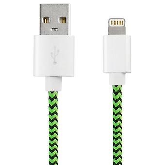 USB to Lightning Cable KSIX Sport 1 m Green Black