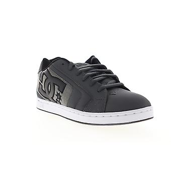 DC Net SE  Mens Gray Leather Lace Up Skate Inspired Sneakers Shoes