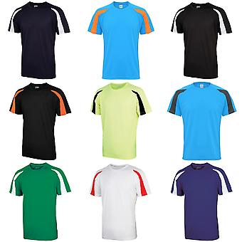 Just Cool Mens Contrast Cool Sports Plain T-Shirt