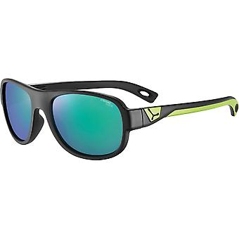 Cebe Zak Kids Sunglasses (Matt Black Lime Frame 1500 Grey PC Blue Light Green Flash Mirror Lens)