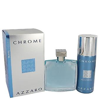 Coffret de chrome de Azzaro 3.4 oz Eau De Toilette Spray + 5 oz Deodorant Spray