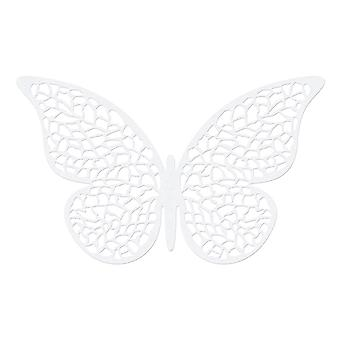 10 Pearl White 8cm Card Leaf Detailed Butterfly