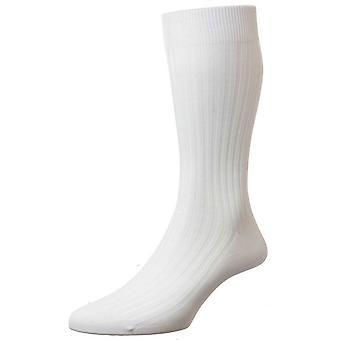 Chaussettes de Lisle Pantherella Danvers côtes coton - blanc
