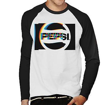 Pepsi 80s Glitch Logo mannen honkbal lange mouwen T-Shirt