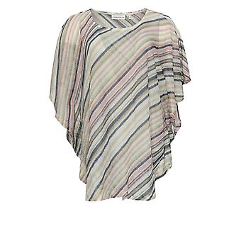 Susan Graver Women's Top Striped Sweater Knit Scarf Top Pink A350160