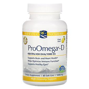 Nordic Naturals, ProOmega-D, Citroen, 1.000 mg, 60 Zachte Gels